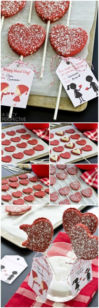 Red Velvet Cookie Pops for #ValentinesDay + Free Printable Tags!