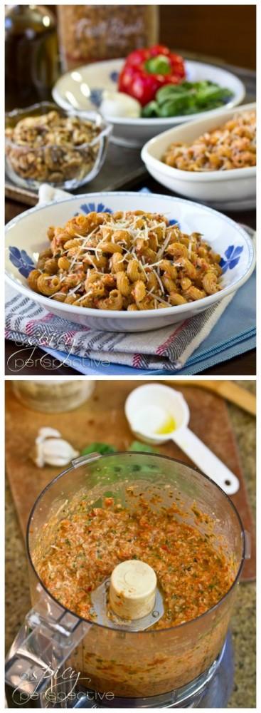... Roasted Red Pepper Pesto Pasta on ASpicyPerspective.com #pasta #pesto