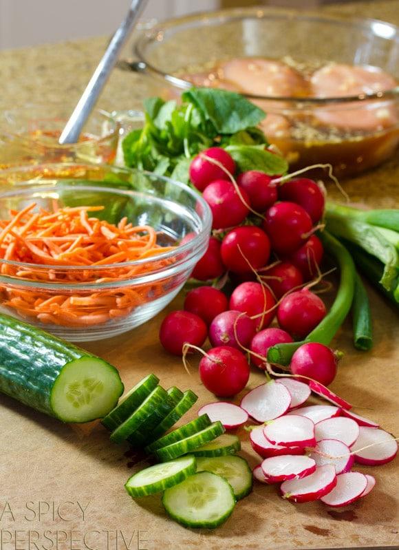 Making Fresh and Zesty Vietnamese Banh Mi Salad on ASpicyPerspective.com #vietnamese #salad