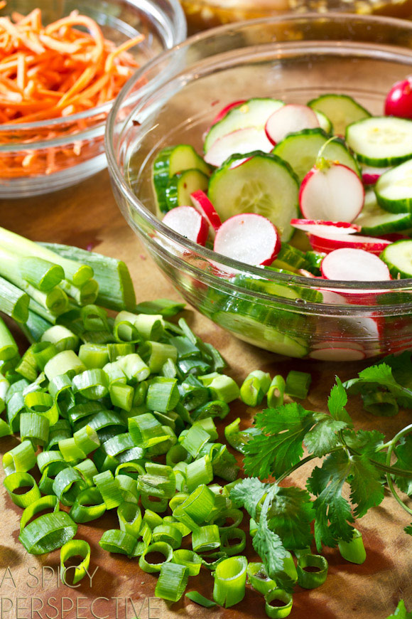 How to Make Vietnamese Banh Mi Salad on ASpicyPerspective.com #vietnamese #salad