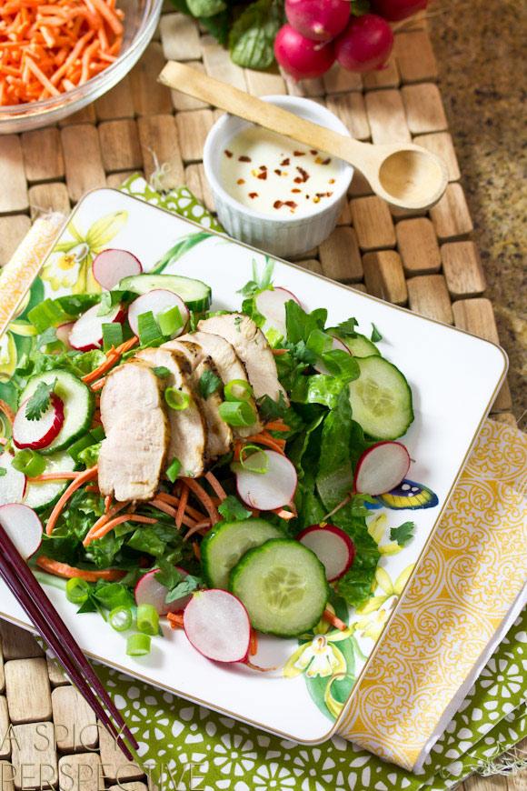 2886e533600 Fresh and Zesty Vietnamese Salad - Banh Mi Style on ASpicyPerspective.com   vietnamese
