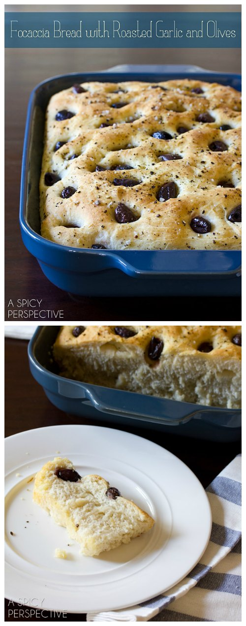 Focaccia Bread with Roasted Garlic and Olives #bread