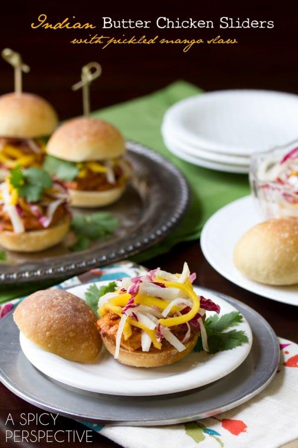 Indian Butter Chicken Sliders with Pickled Mango Slaw   ASpicyPerspective.com #sliders #appetizers #burgers #LandOLakes #KtchnConvo