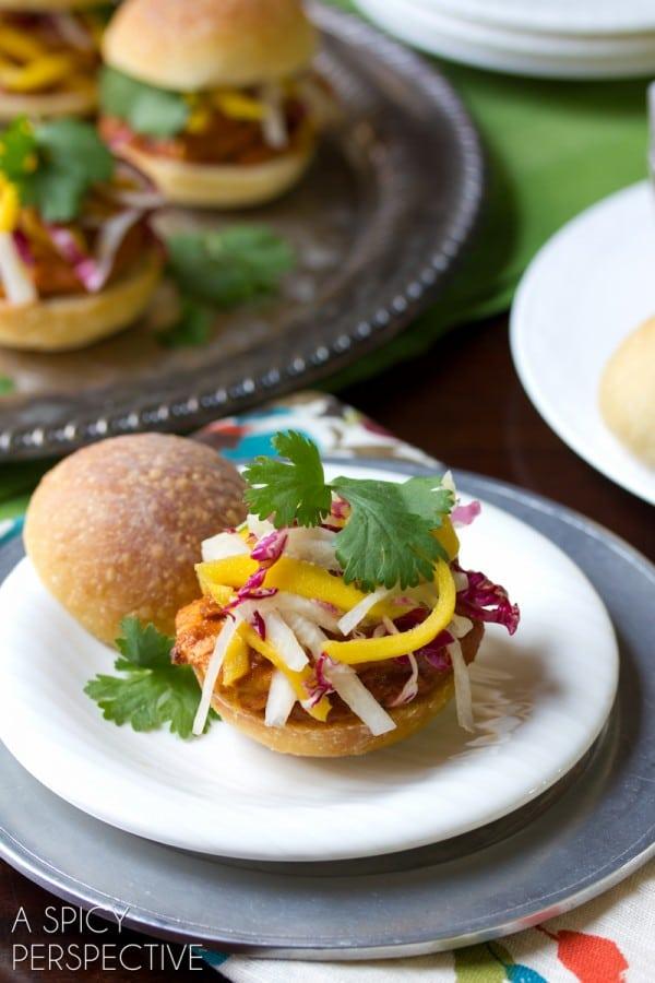 Indian Butter Chicken Sliders   ASpicyPerspective.com #sliders #burgers #LandOLakes #KtchnConvo