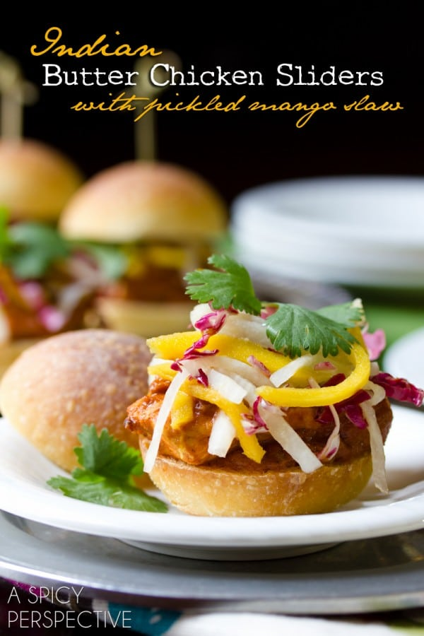 Easy Butter Chicken Sliders with Pickled Mango Slaw | ASpicyPerspective.com #sliders #appetizers #burgers #LandOLakes #KtchnConvo