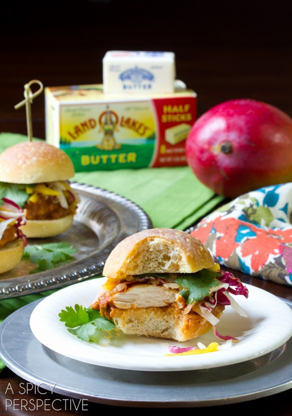 Butter Chicken Sliders with Pickled Mango Slaw | ASpicyPerspective.com #sliders #appetizers #burgers #LandOLakes #KtchnConvo