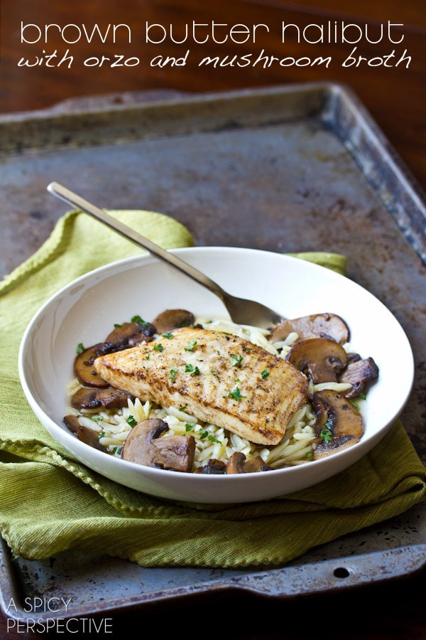 Brown Butter Halibut with Orzo and Mushroom Broth | ASpicyPerspective.com #pasta #dinnerparty #delallo