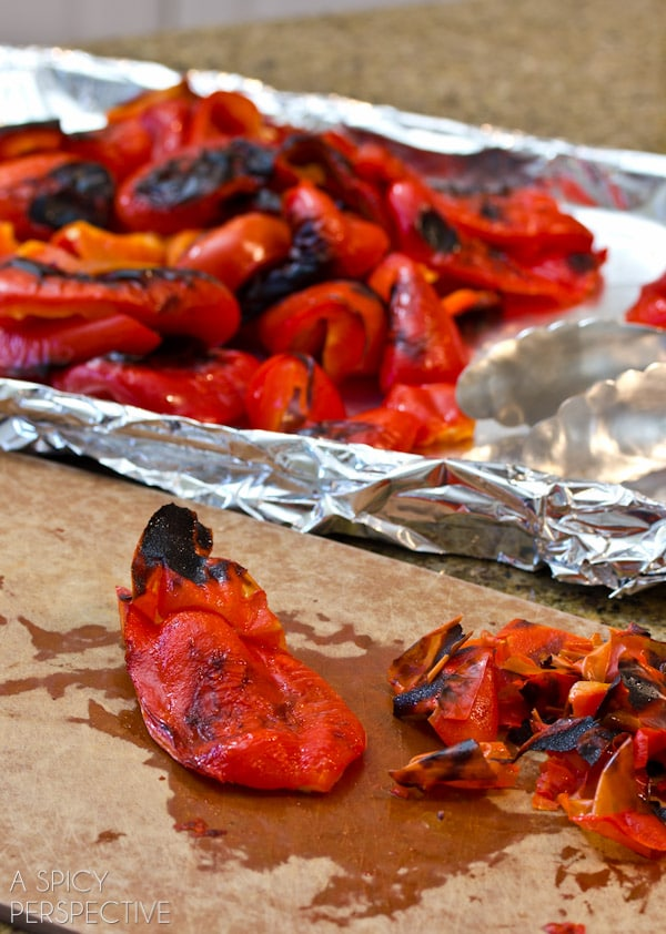 How to Make Roasted Red Peppers | ASpicyPerspective.com #howto #diy #redpeppers