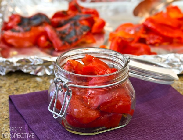Easy Roasted Red Peppers | ASpicyPerspective.com #howto #diy #redpeppers