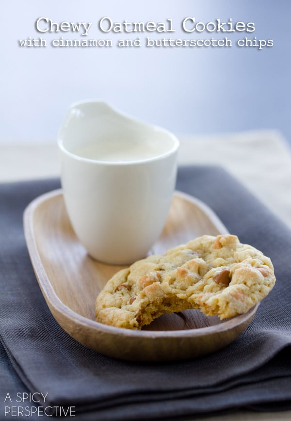 Chewy Oatmeal Cookies with Cinnamon and Butterscotch Chips | ASpicyPerspective.com #cookies #oatmealcookies