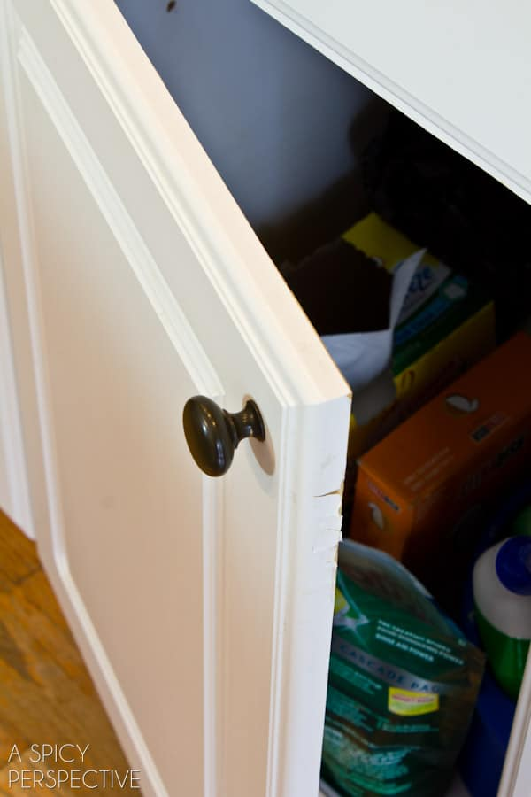 peeling cabinets