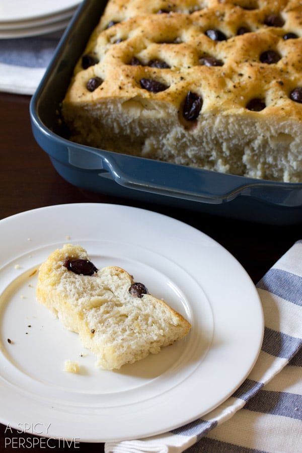 Easy Focaccia Bread with Roasted Garlic and Olives   ASpicyPerspective.com #bread #focaccia