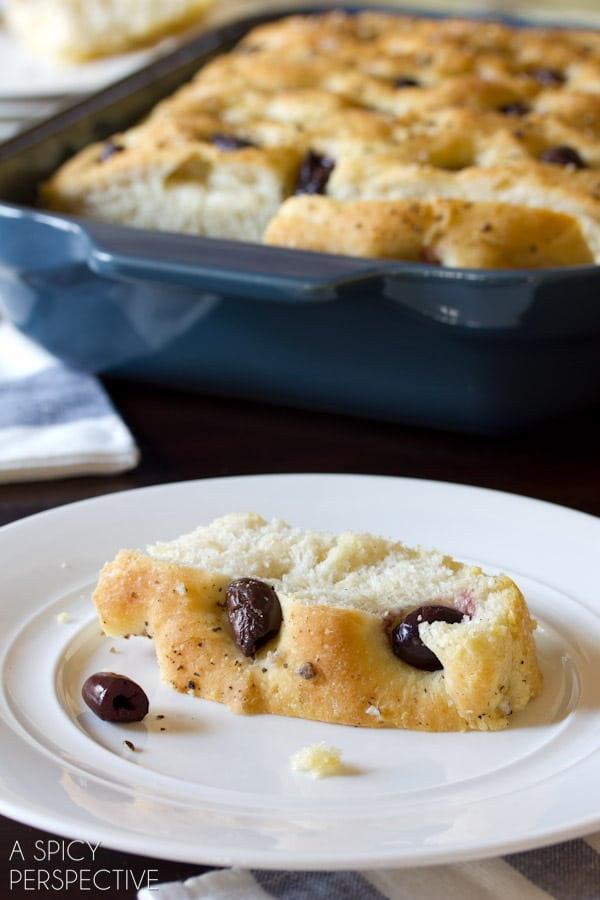 Easy Focaccia Recipe with Roasted Garlic and Olives   ASpicyPerspective.com #bread #focaccia