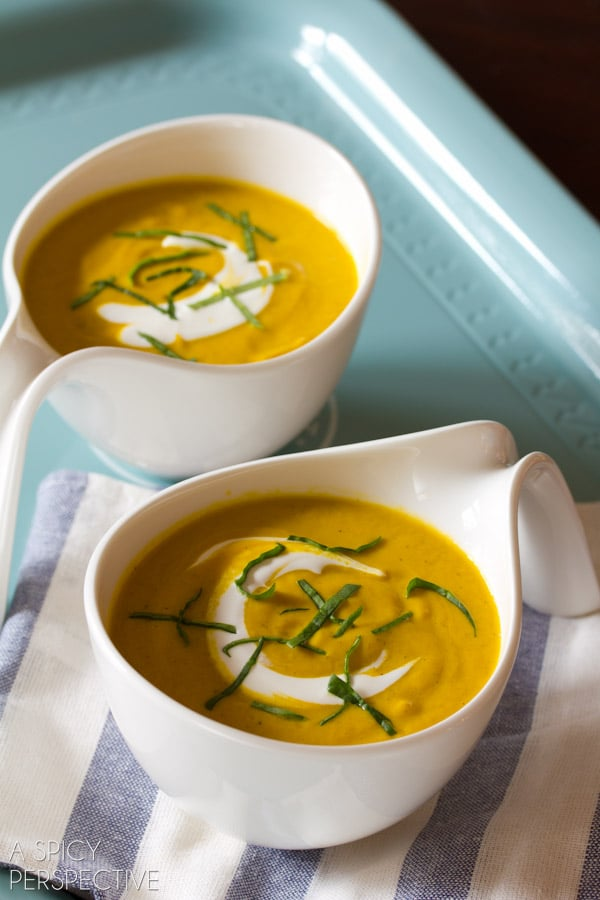 Carrot Soup Recipe with Leeks and Sauvignon Blanc | ASpicyPerspective.com #soup #spring #easter