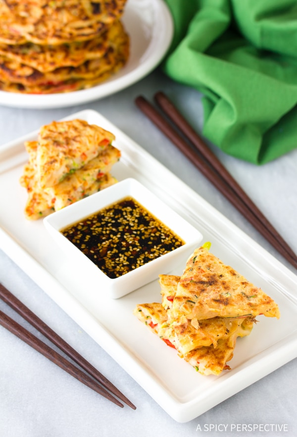 Crispy Korean Pancakes - Pajun (Pajeon) Recipe #vegetarian