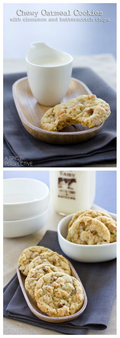 Oatmeal Butterscotch Cookies on ASpicyPerspective.com! #oatmealcookies #butterscotchcookies