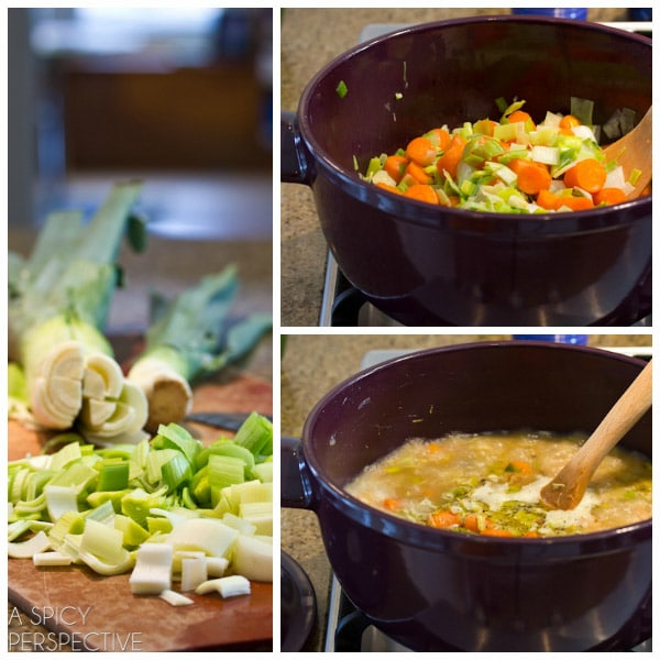 Easy Carrot Soup Recipe with Leeks and Sauvignon Blanc | ASpicyPerspective.com #soup #spring #easter
