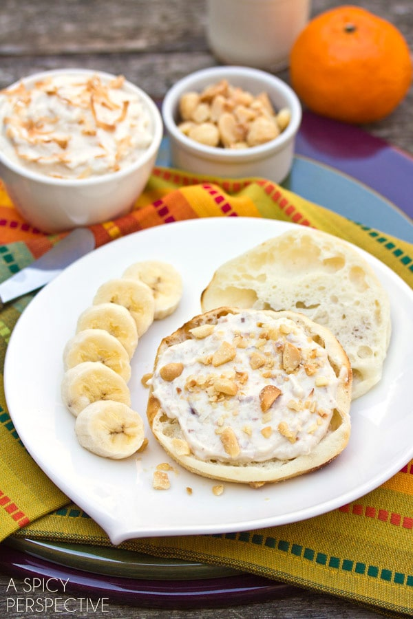 Toasted Coconut Breakfast Spread on ASpicyPerspective.com #breakfast