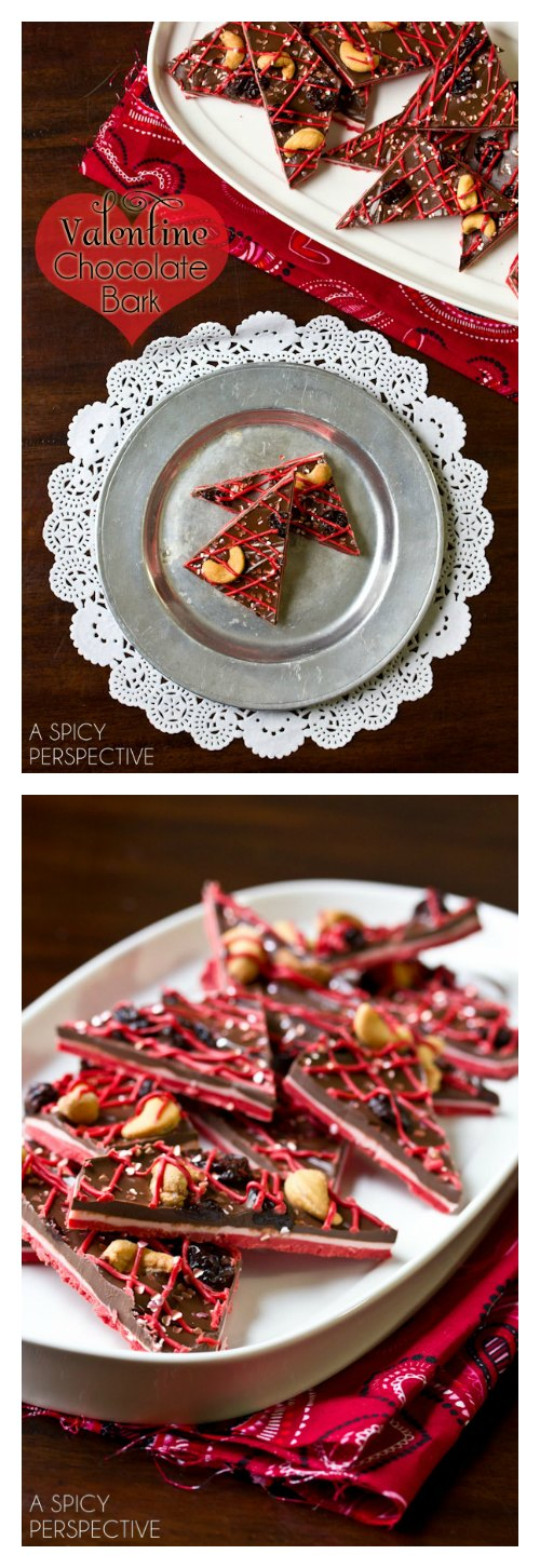 Easy 3-Layer Chocolate Bark Recipe for #ValentinesDay! via ASpicyPerspective.com #ediblegifts #chocolatebark