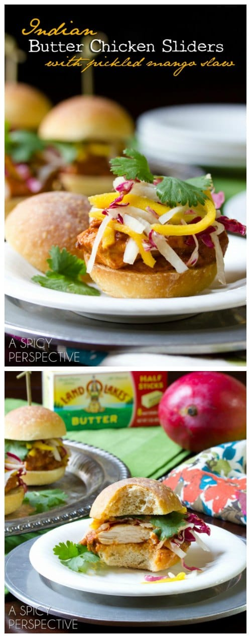 Butter Chicken Sliders with Pickled Mango Slaw! #sliders