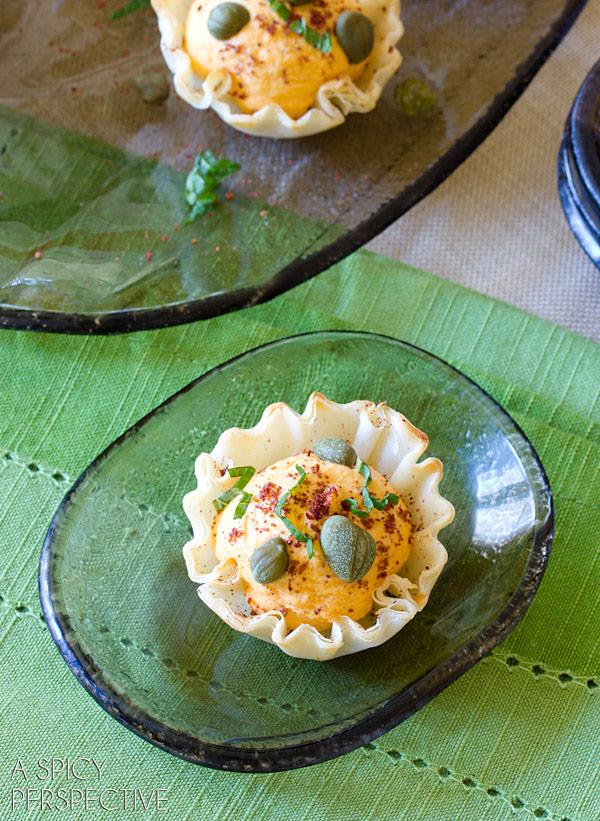 The BEST Middle Eastern Deviled Egg Recipe in Fillo Baskets! #spring #deviledeggs