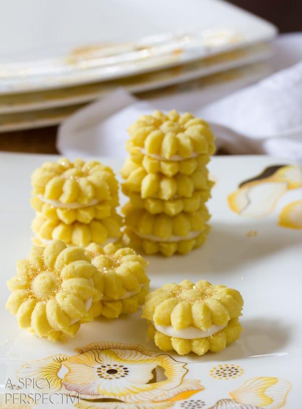 Lemon Cookies with Lemon Cream Filling   ASpicyPerspective.com #cookies #lemon #cookies #kidfriendly
