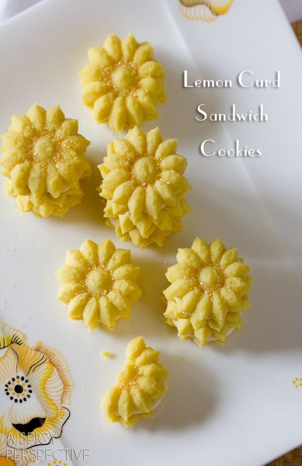 Lemon Cookies Recipe with Lemon Cream Filling   ASpicyPerspective.com #cookies #lemon #cookies #kidfriendly