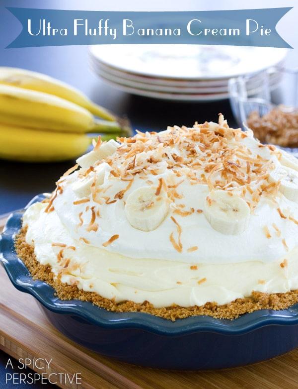 Banana Cream Pie #ASpicyPerspective #BananaCreamPie #BananaCreamPieRecipe #CreamPie #Easter #Dessert #Bananas #WhippedCream #BananaPie