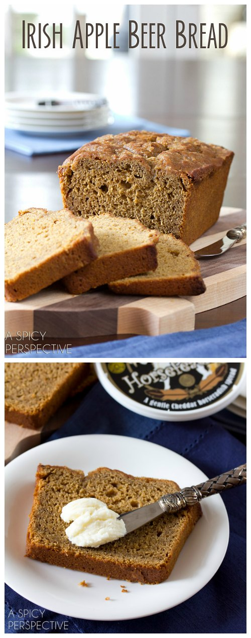 Irish Apple Beer Bread for Saint Patrick's Day! #beerbread #bread