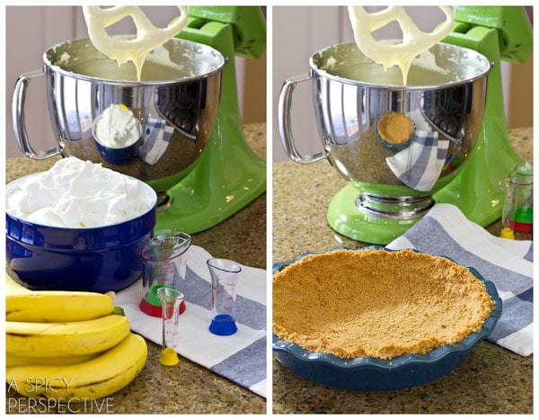 How to make Banana Cream Pie Recipe | ASpicyPerspective.com #pie #banana #easydessert