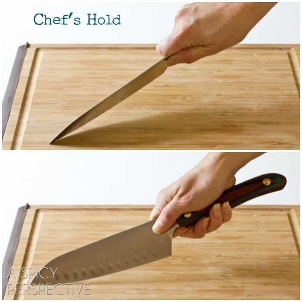 Grips: Knife Skills 101 on ASpicyPerspective.com #howto #knives #cookingtips