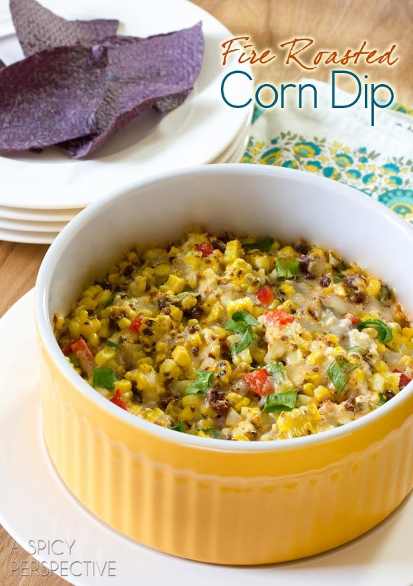 HOT Fire Roasted Corn Dip | ASpicyPerspective.com #dip #party