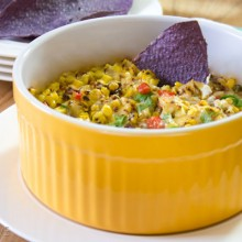 Chunky Fire Roasted Corn Dip | ASpicyPerspective.com #dip #party #florida #corn