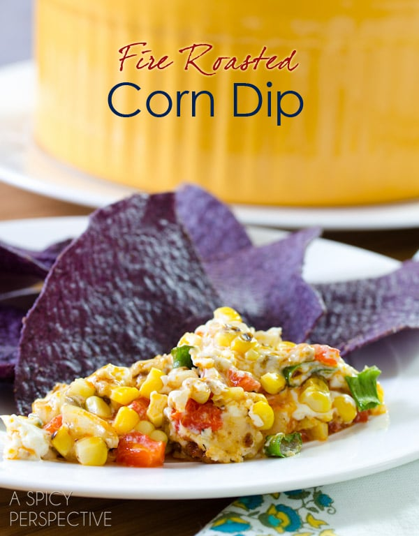 Cheesy Fire Roasted Corn Dip | ASpicyPerspective.com #dip #party #florida #corn Pin & Win Contest Here: http://www.sunshinesweetcorn.com/home/livin-the-sweet-life-pinterest-contest/