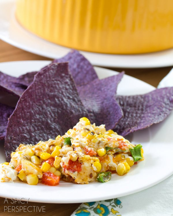 Gooey Fire Roasted Corn Dip | ASpicyPerspective.com #dip #party #florida #corn