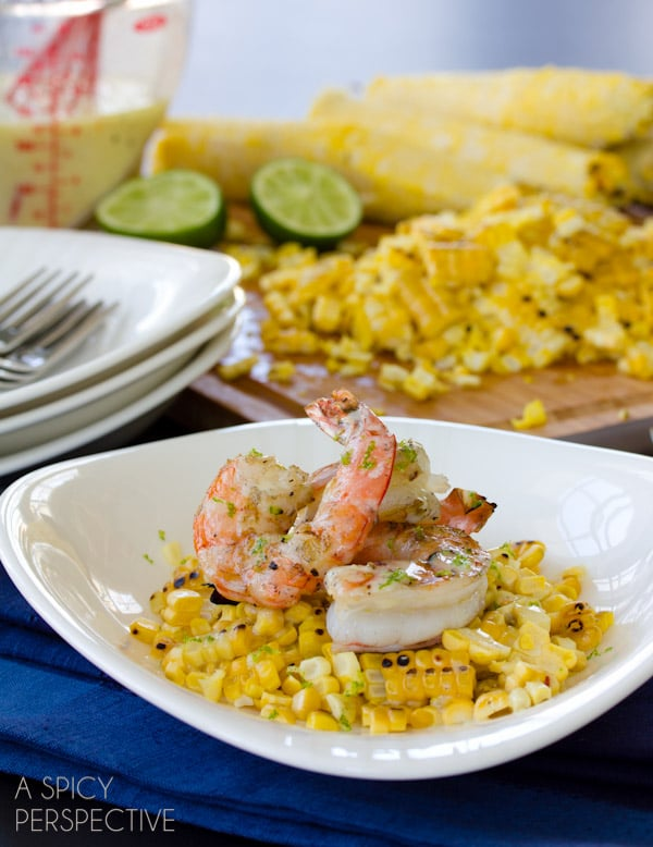 "Grilled Shrimp and Grilled Corn on the Cob ""Shrimp and Grits"" ""Pin & Win"" on http://www.sunshinesweetcorn.com/home/livin-the-sweet-life-pinterest-contest/ corn #shrimp #healthyrecipe"