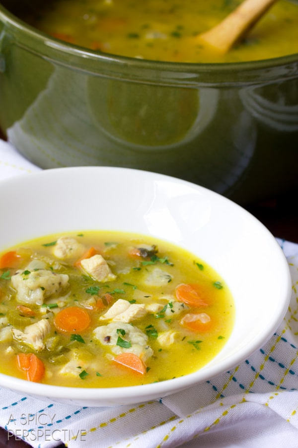 Chicken n Dumplings Soup Recipe | ASpicyPerspective.com #soup #recipe #chicken
