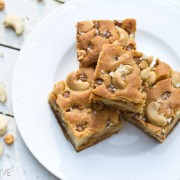 Simple Salted Caramel Cashew Blondies | ASpicyPerspective.com #blondies #bars #saltedcaramel