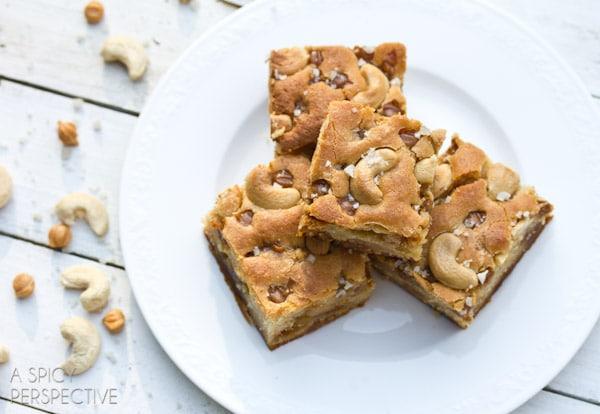 Simple Salted Caramel Cashew Blondies | ASpicyPerspective.com #blondies #bars #saltedcaramel