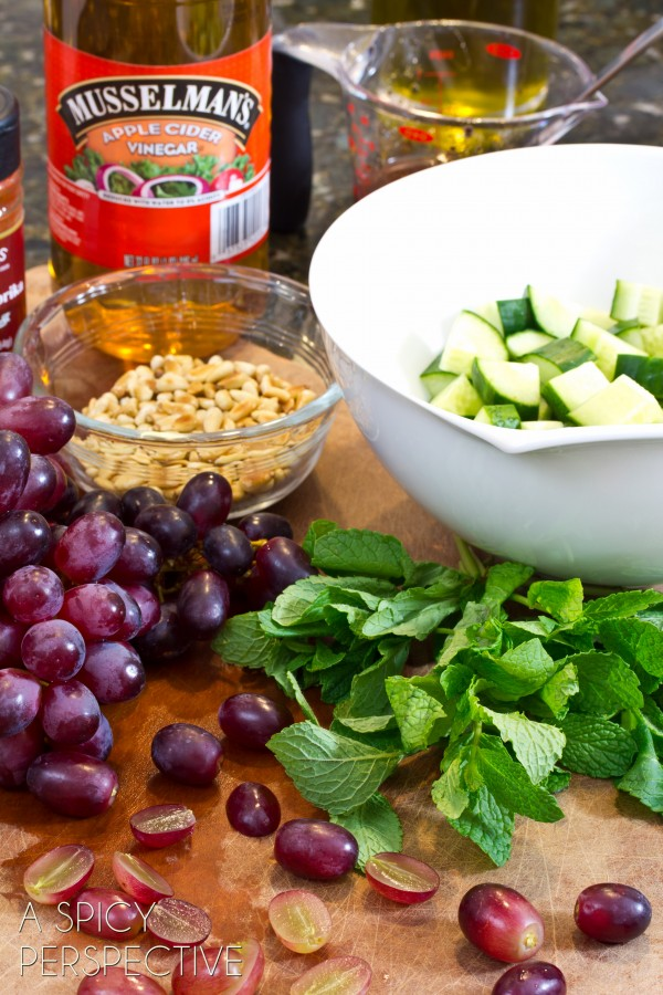 Chop Salad with Apple Vinaigrette Grapes and Fresh Mint   ASpicyPerspective.com #salad #grilledcheese #vegetarian