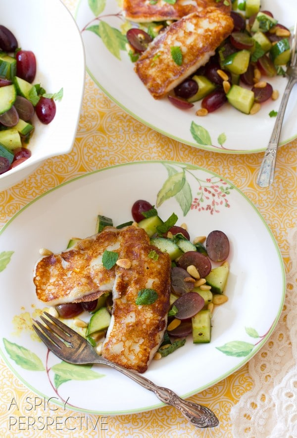 Grilled Cheese Chop Salad w Apple Vinaigrette Grapes and Fresh Mint   ASpicyPerspective.com #salad #grilledcheese #vegetarian