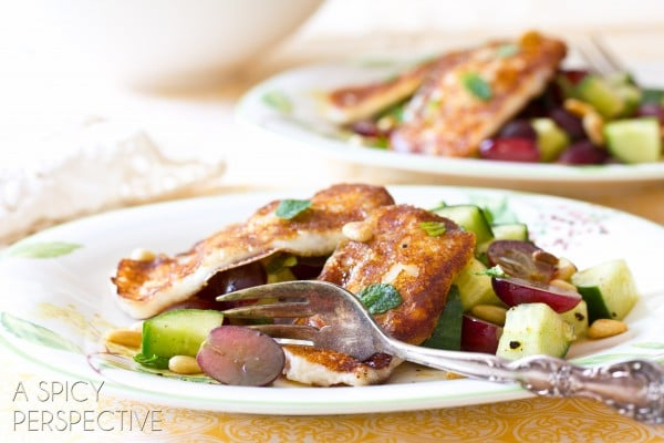 Grilled Cheese Salad with Apple Vinaigrette Grapes and Fresh Mint   ASpicyPerspective.com #salad #grilledcheese #vegetarian
