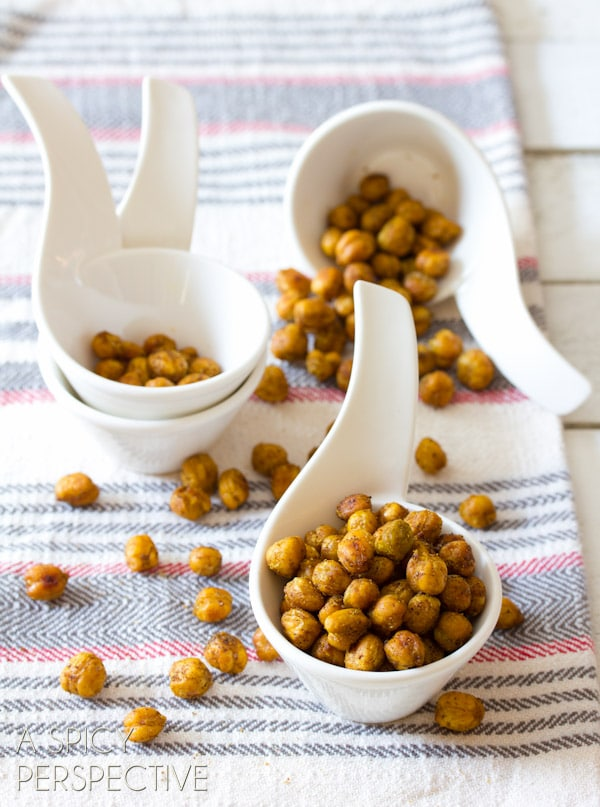 Curry Roasted Chickpeas | ASpicyPerspective.com #snack #healthy #chickpeas