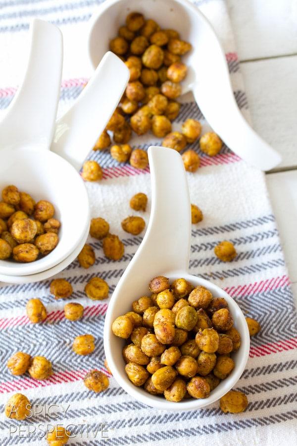 Roasted Chickpeas | ASpicyPerspective.com #snack #healthy #chickpeas #vegan