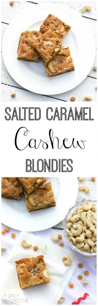 Salted Caramel Cashew Blondies (Made with Yogurt!) on ASpicyPerspective.com #blondies