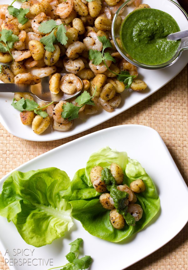 Amazing Shrimp and Gnocchi Lettuce Wraps with Spicy Mint Dressing on ASpicyPerspective.com #DelalloItalian #Pasta #LettuceWraps