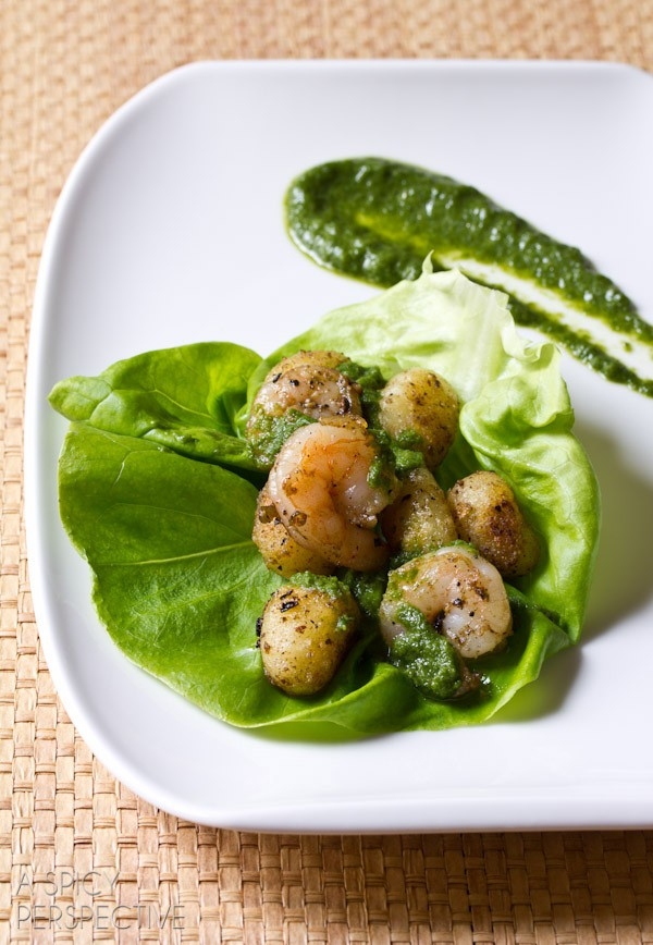 Love these Shrimp and Gnocchi Lettuce Wraps with Spicy Mint Dressing on ASpicyPerspective.com #DelalloItalian #Pasta #LettuceWraps
