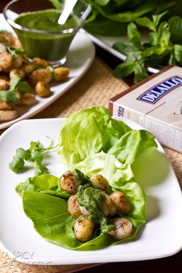 Shrimp and Gnocchi Lettuce Wraps with Spicy Mint Dressing on ASpicyPerspective.com #DelalloItalian #Pasta #LettuceWraps