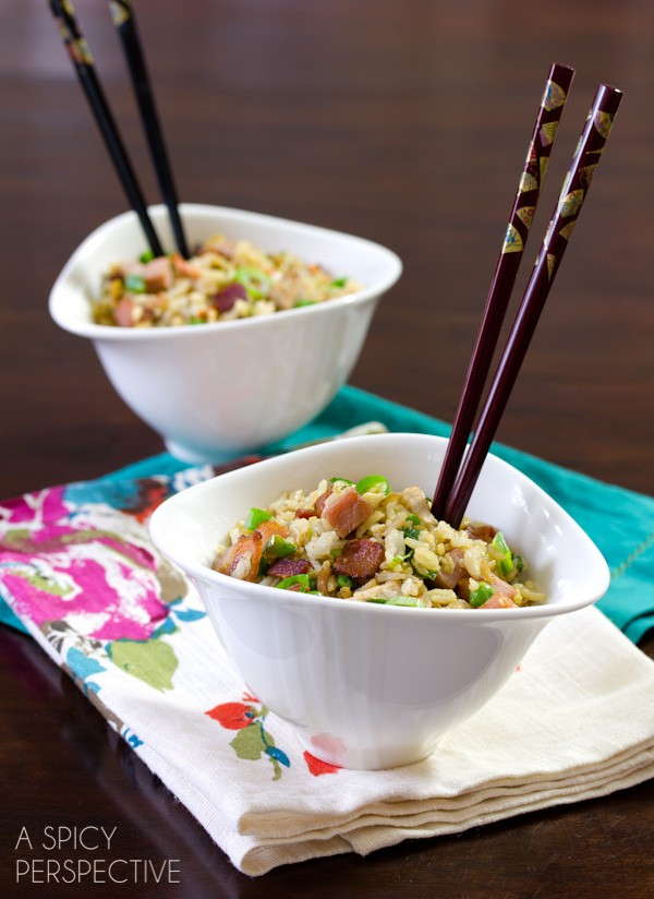 Love this Triple Pork Fried Rice Recipe on ASpicyPerspective.com
