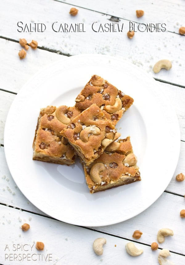 Tender and Chewy Salted Caramel Cashew Blondies (Made with Yogurt!) on ASpicyPerspective.com #blondies